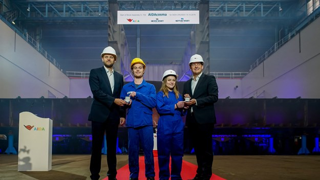 Keel-laying for AIDAcosma at Neptun Werft shipyard in Rostock - Tim Meyer, Kenny Schaft, Charleen Hoffmann & Felix Eichhorn
