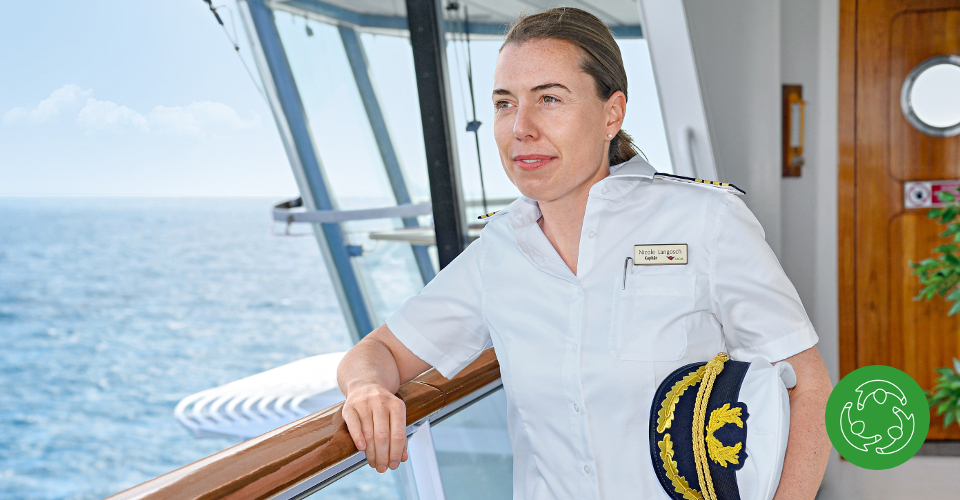 Nicole Langosch (34) is the commanding officer on board AIDAsol. She is the first woman to hold the rank of Captain in the AIDA fleet and the highest-ranking woman on a German cruise ship.